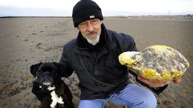 Ken Wilman and his dog Madge make an usual find on the beach