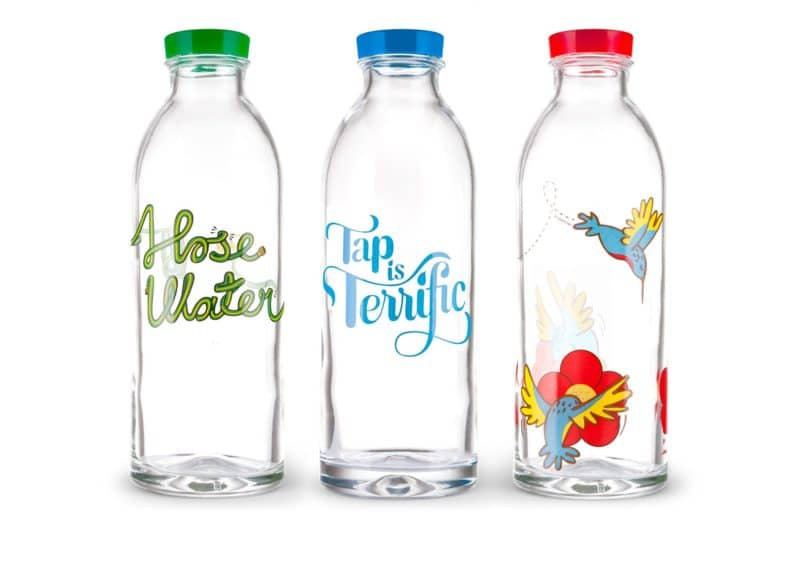 Hummingbird Reusable Glass Water Bottle Jessie on a Journey Solo