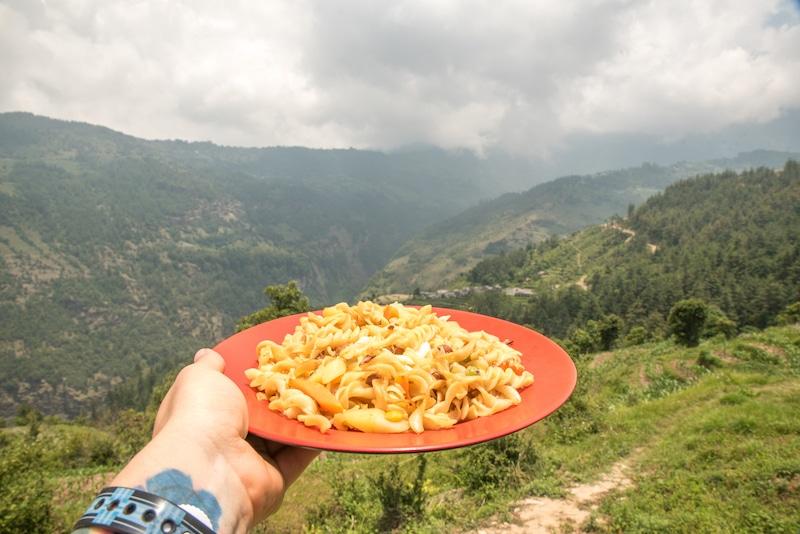 macaroni lunch along the mohare Danda